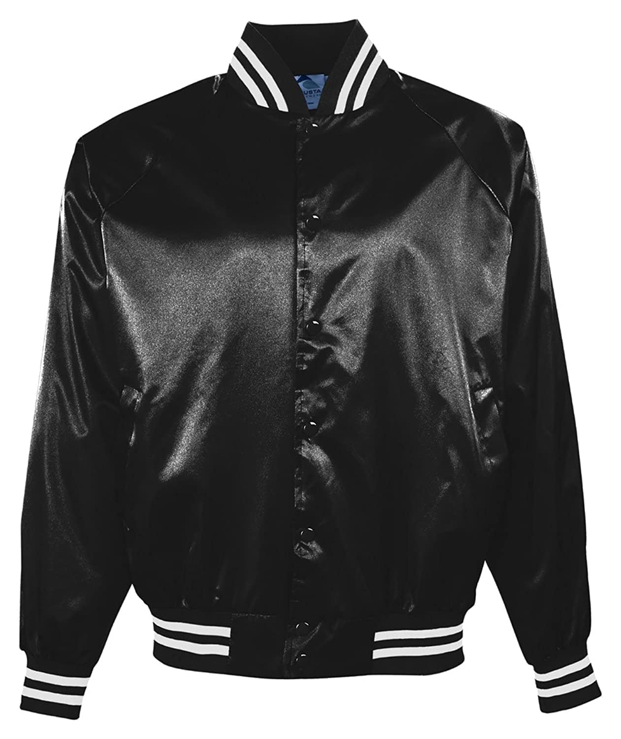 Amazon.com: Adult Satin Baseball Jacket with Striped Trim From ...